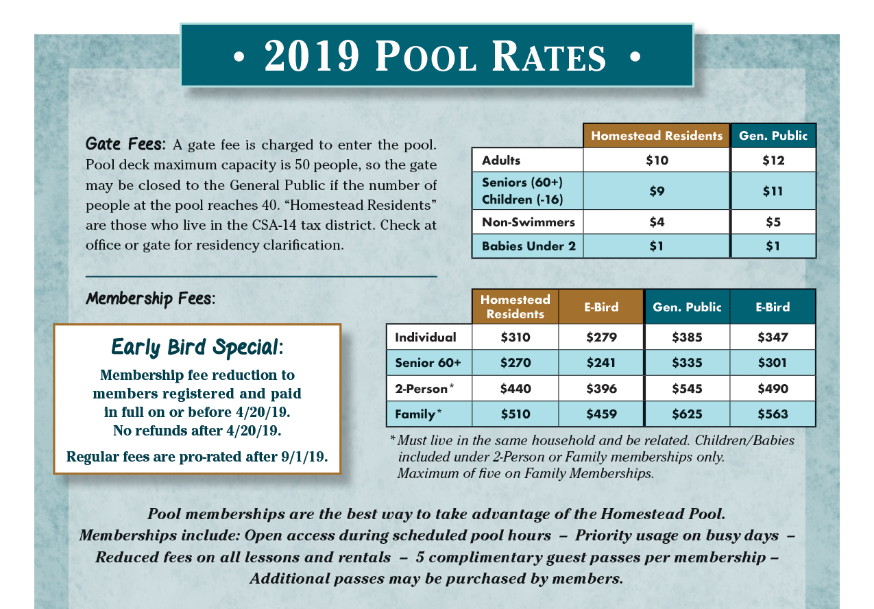 Homestead Pool 2019 Rates