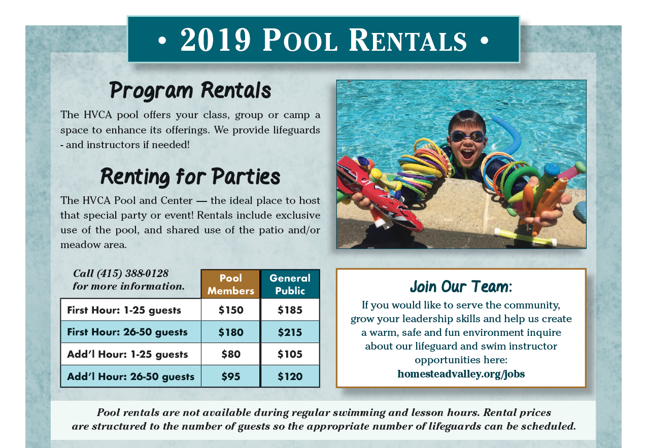 Pool Rental Rate Sheet